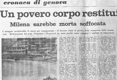 Cold Case - Medicina Legale - Milena Sutter - La notizia sul Lavoro di Genova