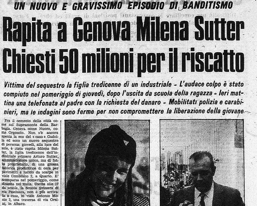 Rapimento Milena Sutter - richiesta riscatto - Genova - Biondino Spider Rossa - IlBiondino.Org