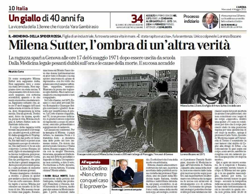 giornale L'Arena - inchiesta sul caso di Milena Sutter e Lorenzo Bozano - Il Biondino della Spider Rossa - 2011